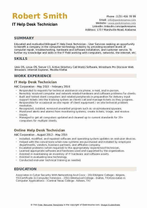 Help Desk Technician Resume example