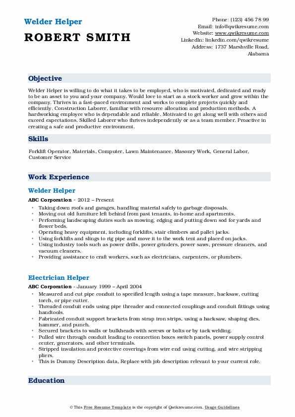 Welder Helper Resume Model