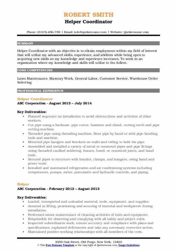 Helper Coordinator Resume Template