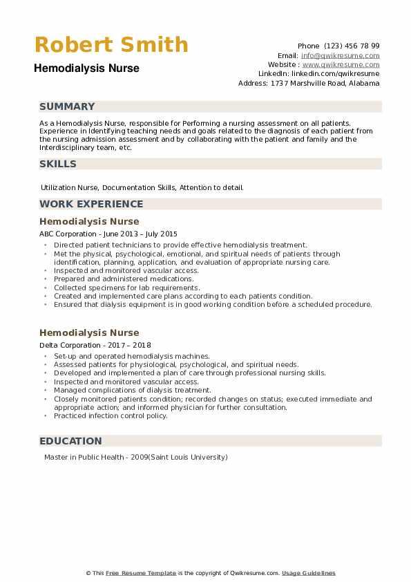 Hemodialysis Nurse Resume example