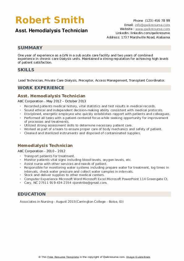 Hemodialysis Technician Resume example
