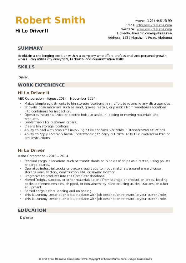 Hi Lo Driver Resume example