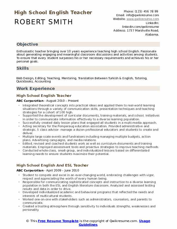 High School English Teacher Resume Template