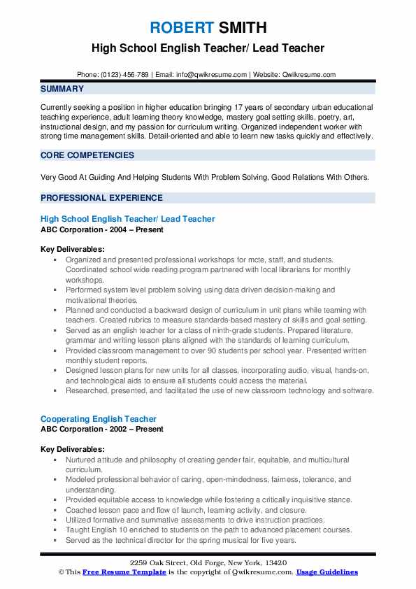 High School English Teacher/ Lead Teacher Resume Format