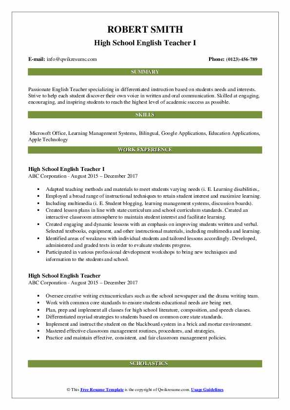 High School English Teacher I Resume Template