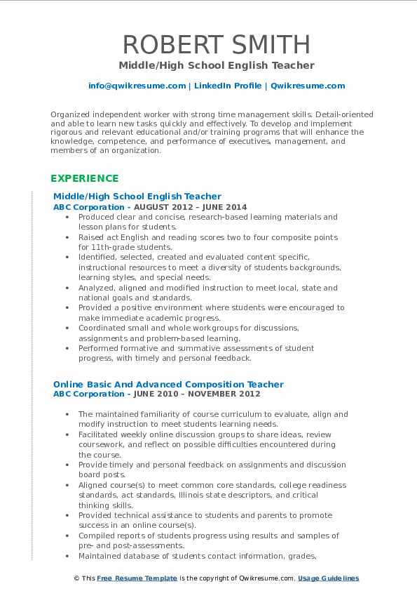 Middle/High School English Teacher Resume Format
