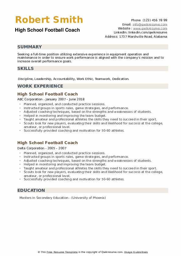 High School Football Coach Resume example