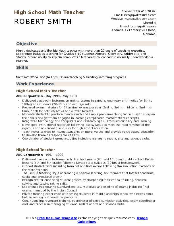 High School Math Teacher Resume Samples | QwikResume