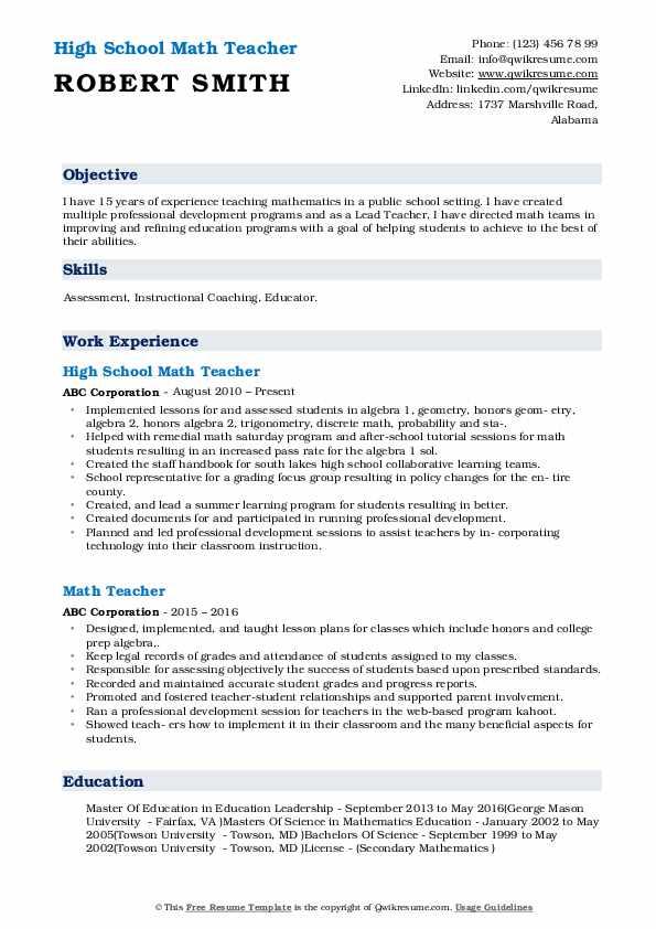 High School Math Teacher Resume Format