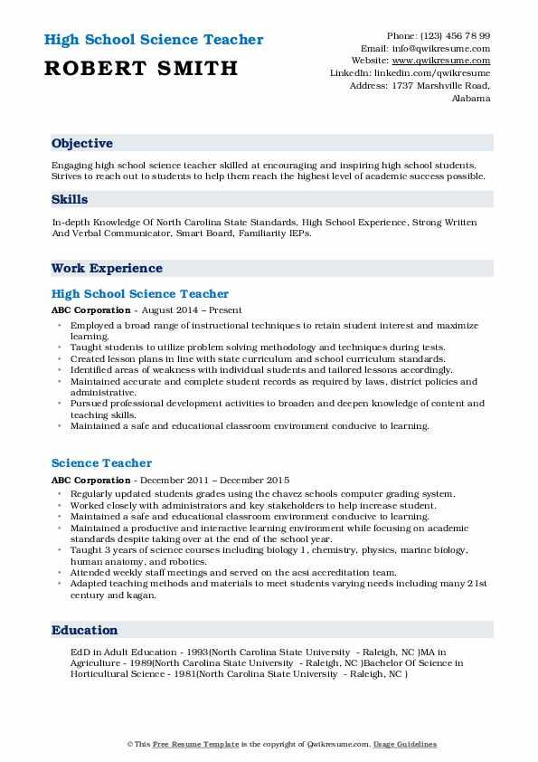 High School Science Teacher Resume Format