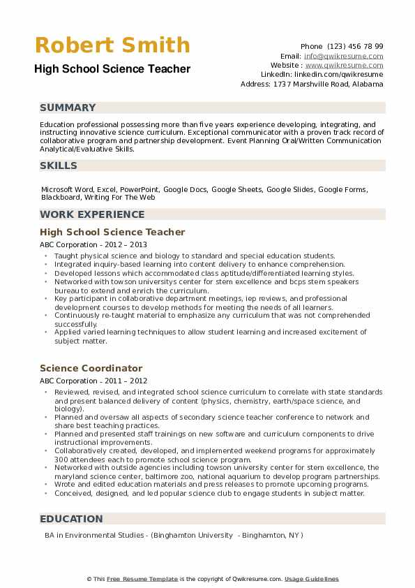High School Science Teacher Resume Samples Qwikresume