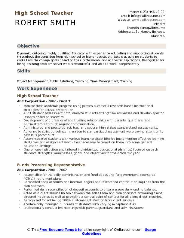 High School Teacher Resume Samples Qwikresume