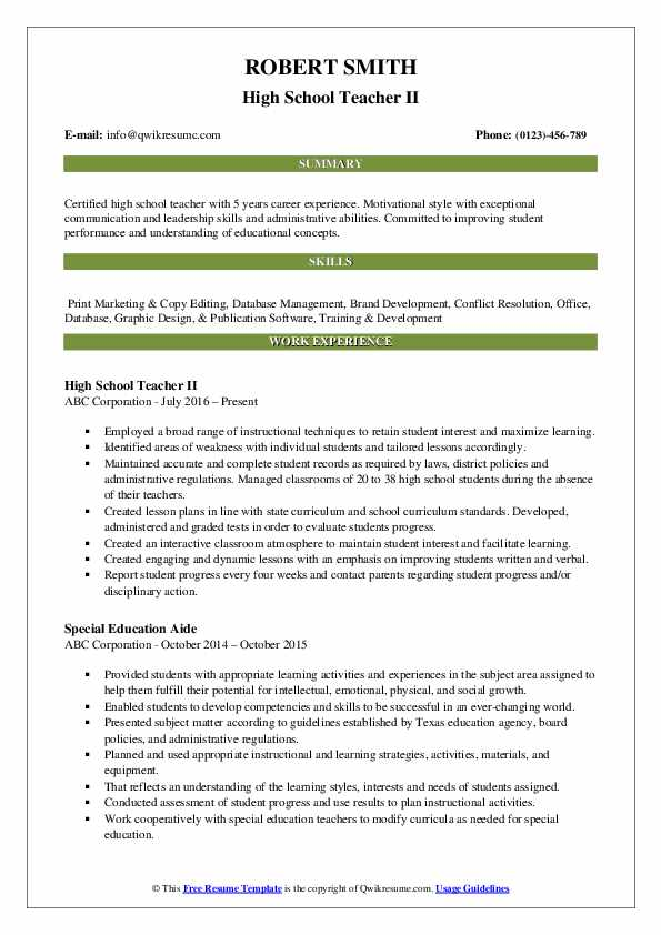 High School Teacher II Resume Example