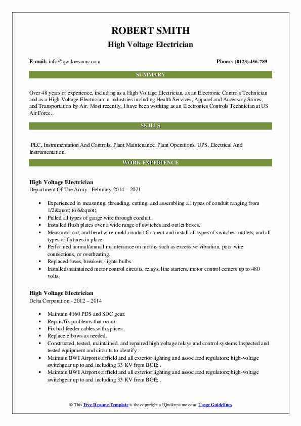 high voltage feeder resume