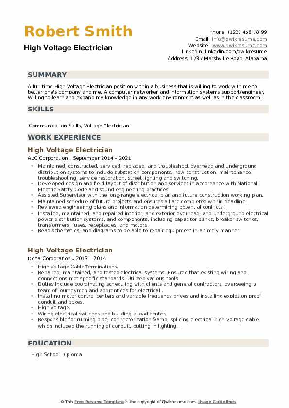 High Voltage Electrician Resume example