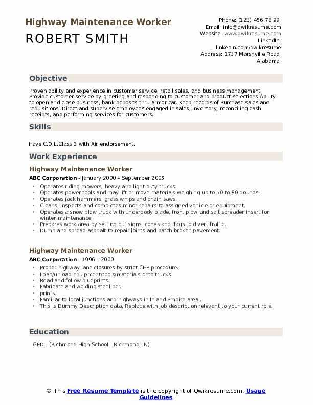 Highway Maintenance Worker Resume example