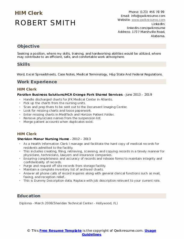 HIM Clerk Resume example