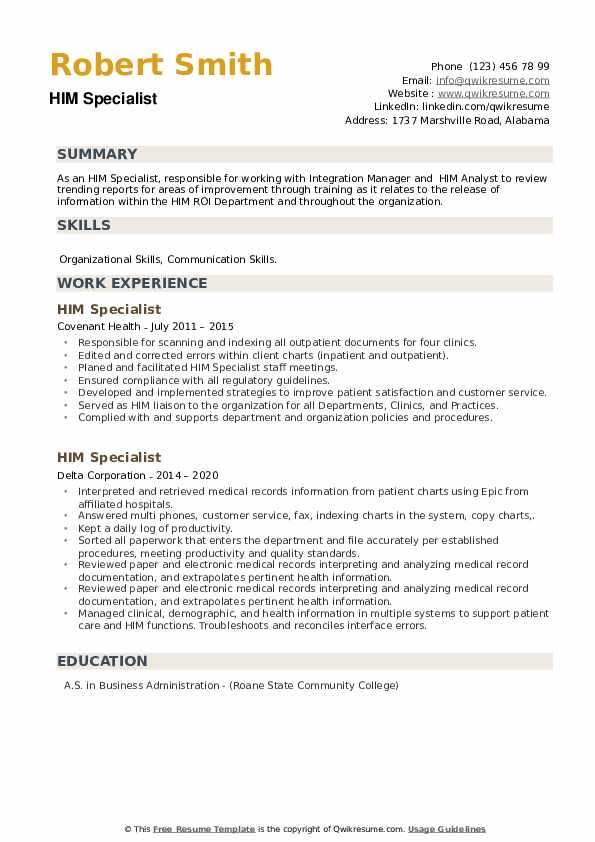 HIM Specialist Resume example