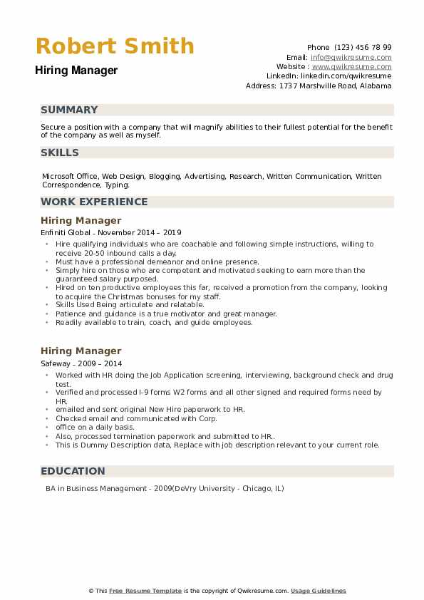 Hiring Manager Resume example