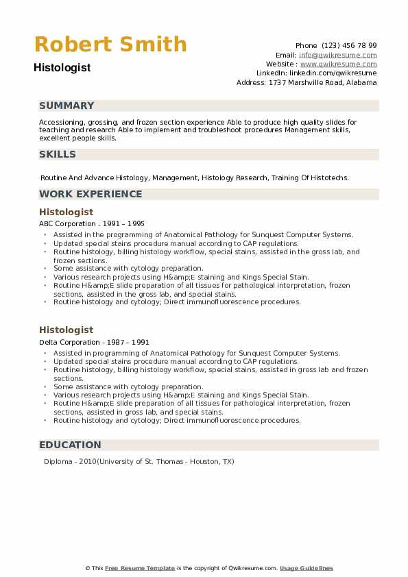 Histologist Resume example