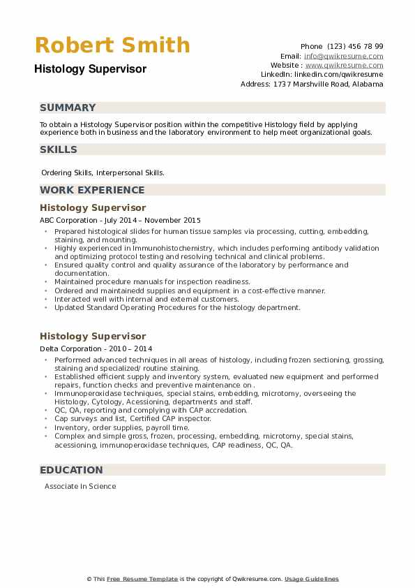 Histology Supervisor Resume example