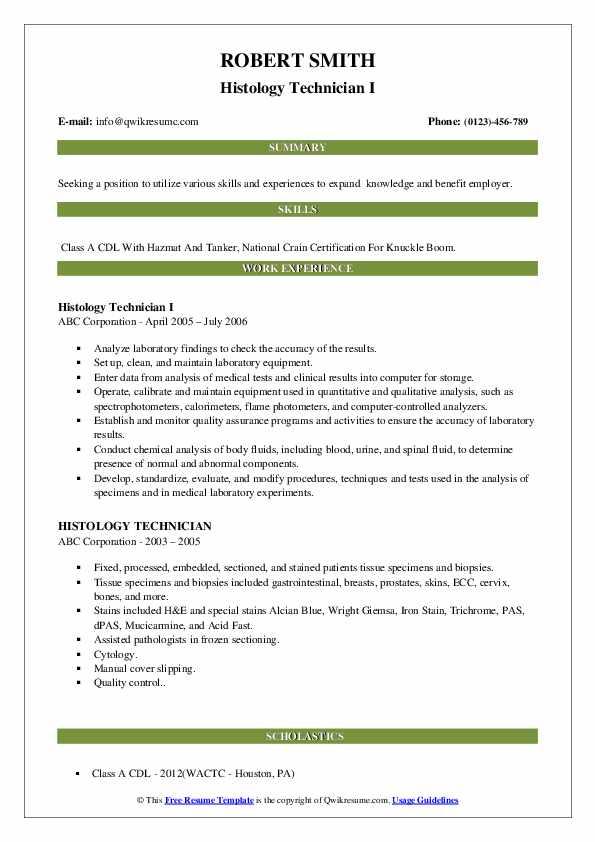 histology technician resume samples