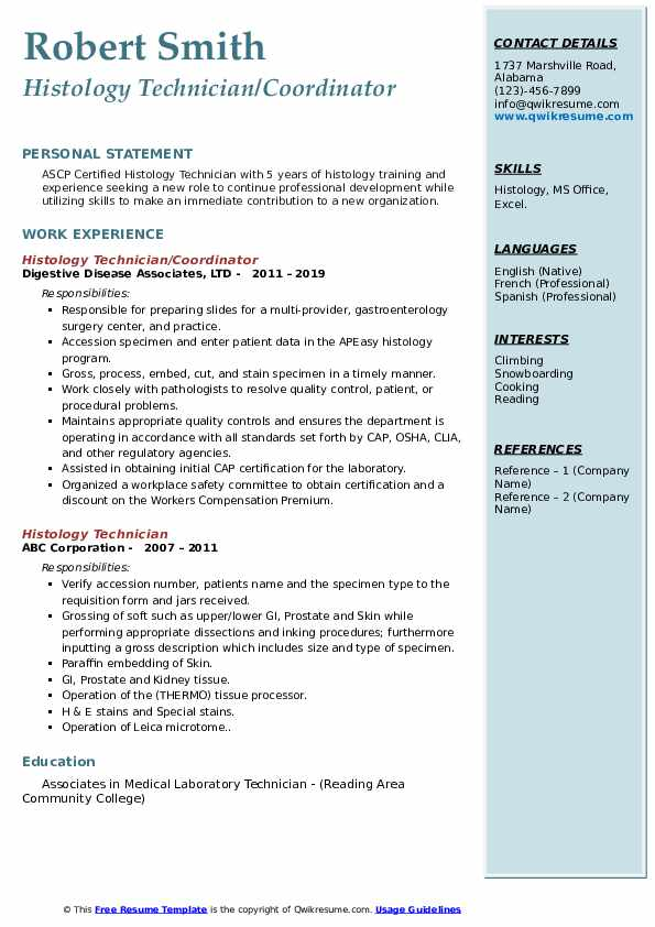 histology technician resume samples