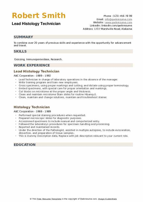 Histology Technician Resume Samples Qwikresume