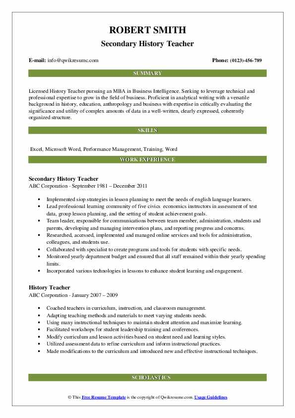 history teacher resume samples