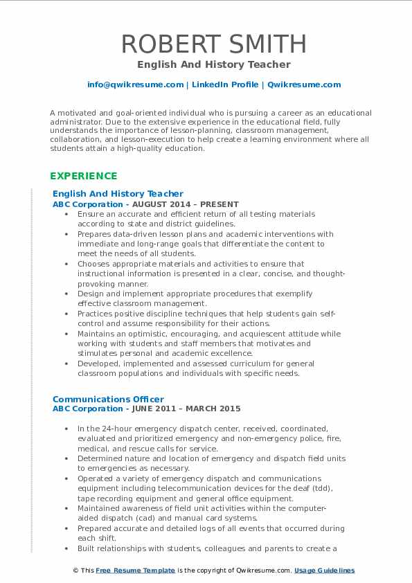 English And History Teacher Resume Template