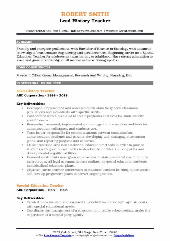 History Teacher Resume Samples Qwikresume