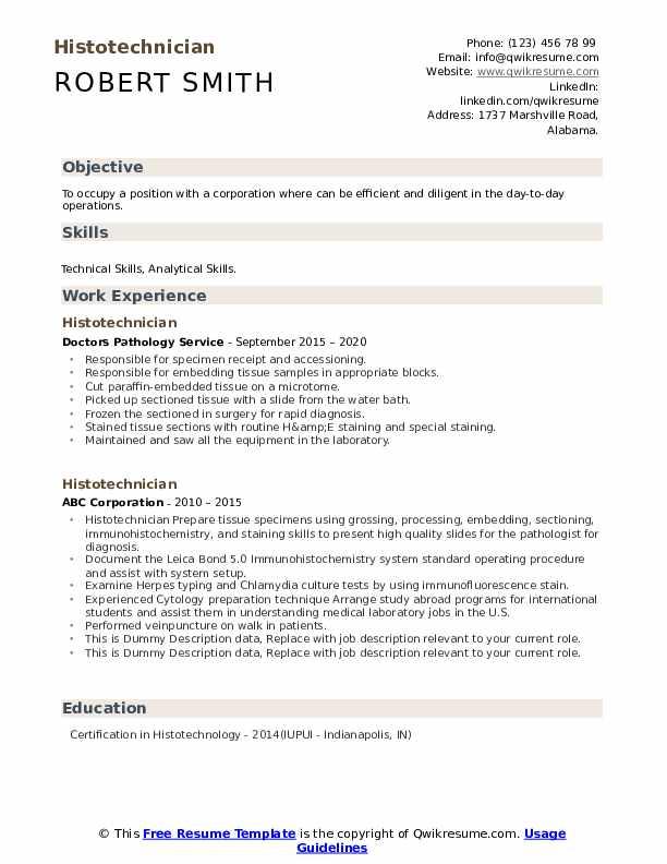 Histotechnician Resume example