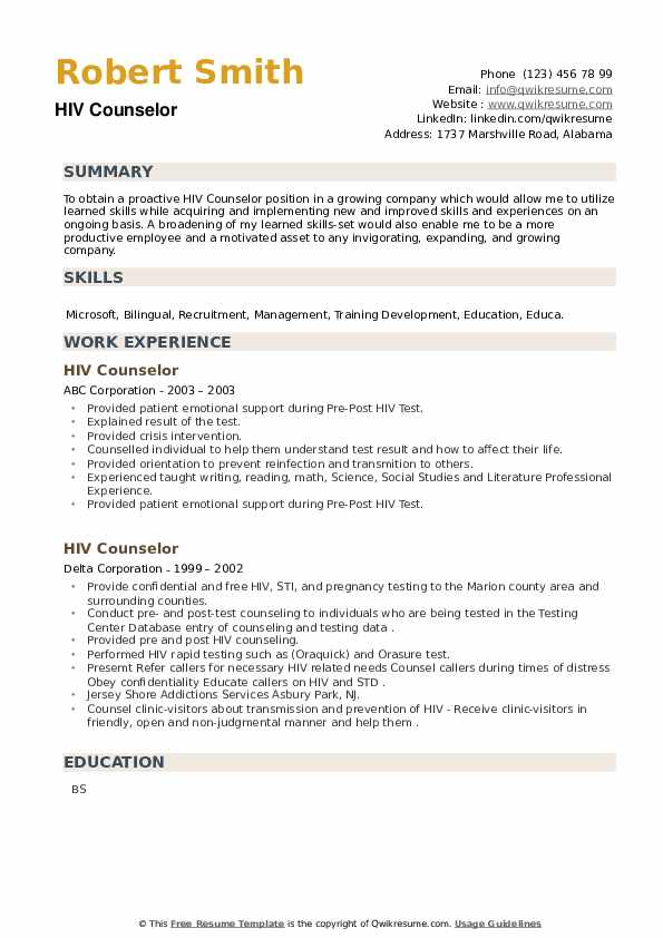 HIV Counselor Resume example