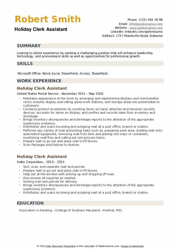 Holiday Clerk Assistant Resume example