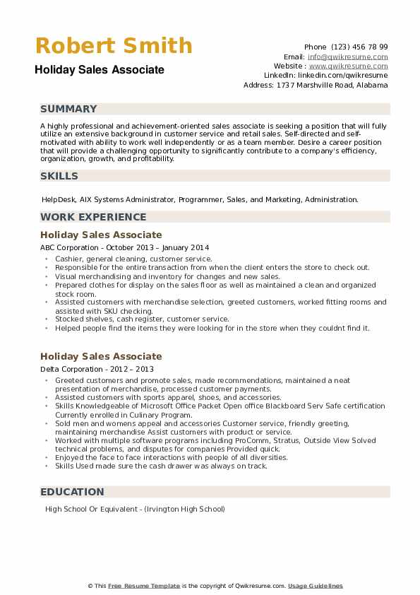 Holiday Sales Associate Resume example