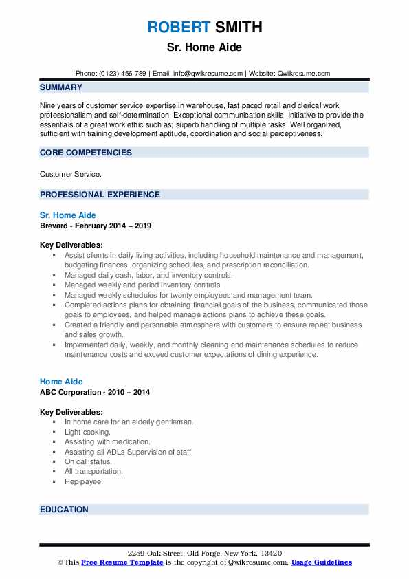 Sr. Home Aide Resume Template