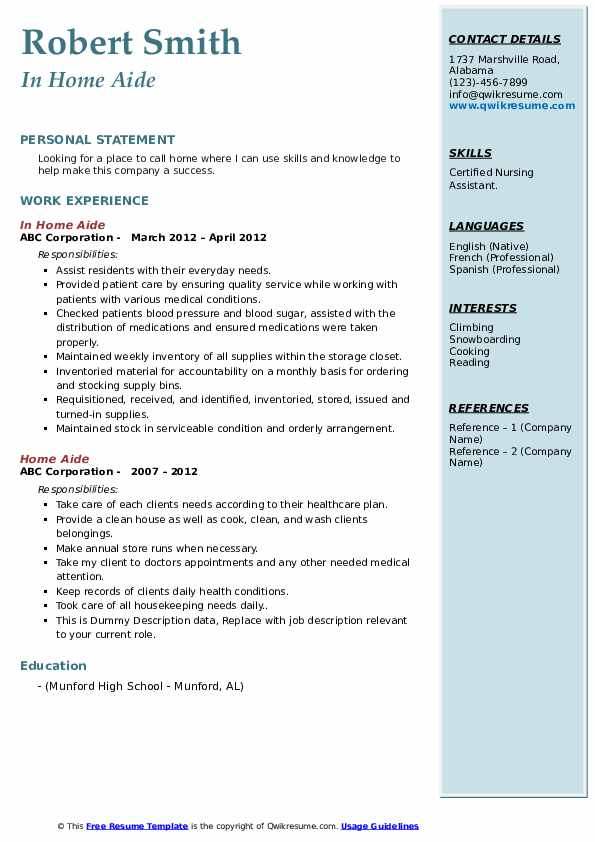 In Home Aide Resume Template