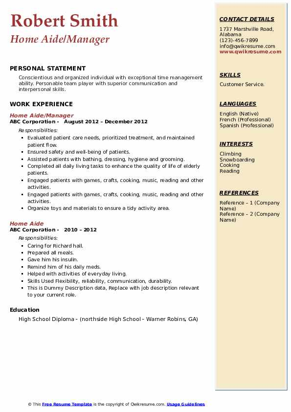 Home Aide/Manager Resume Model