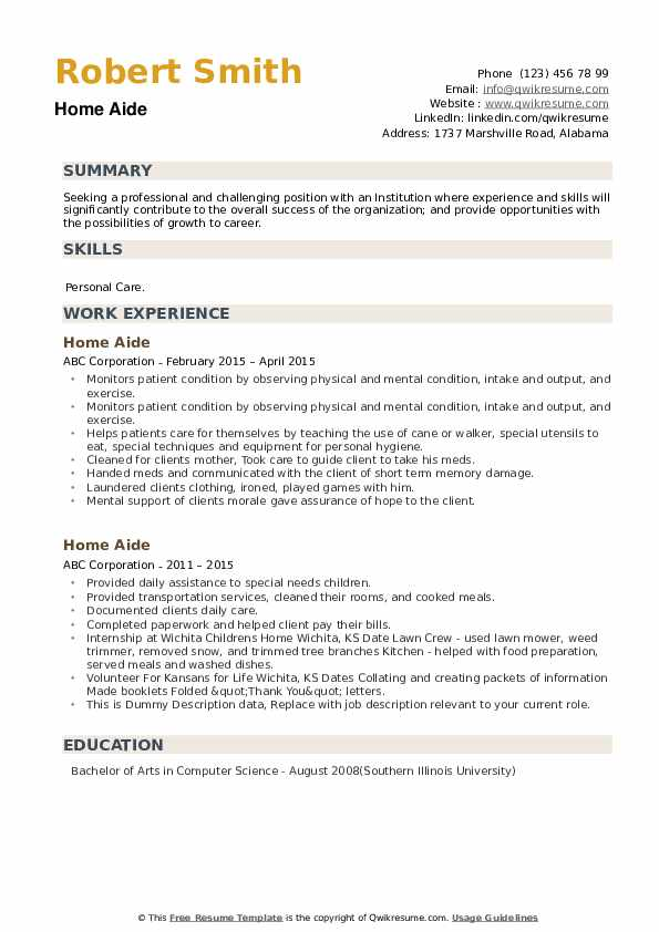 Home Aide Resume example