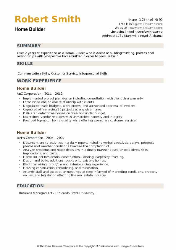 Home Builder Resume example