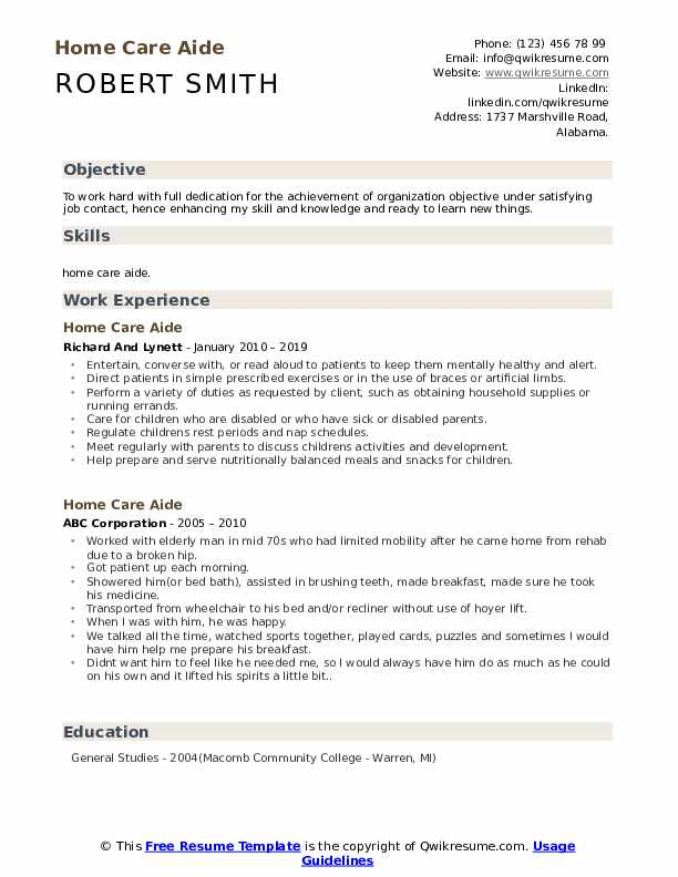 Home Care Aide Resume Format