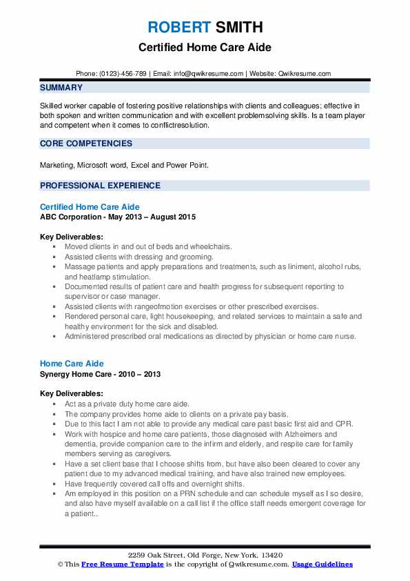 Certified Home Care Aide Resume Model