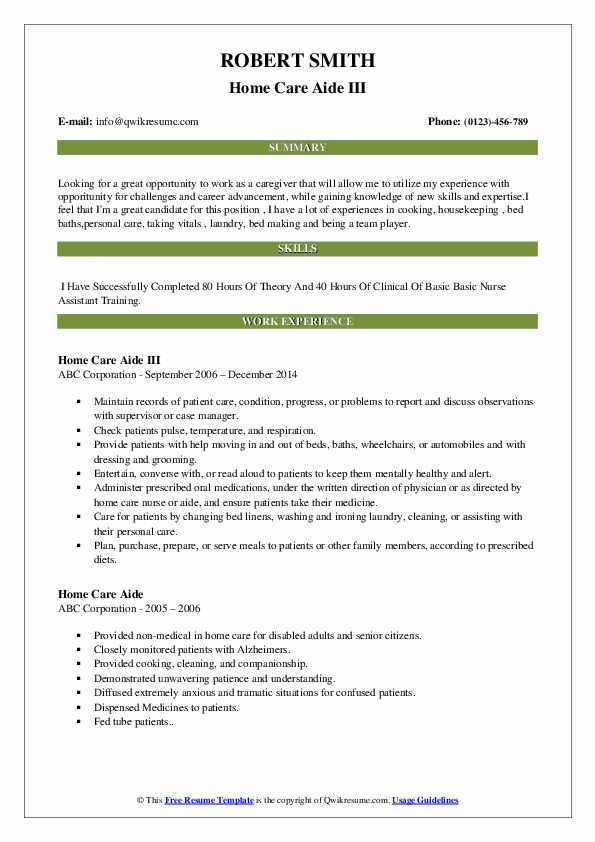 Home Care Aide III Resume Sample