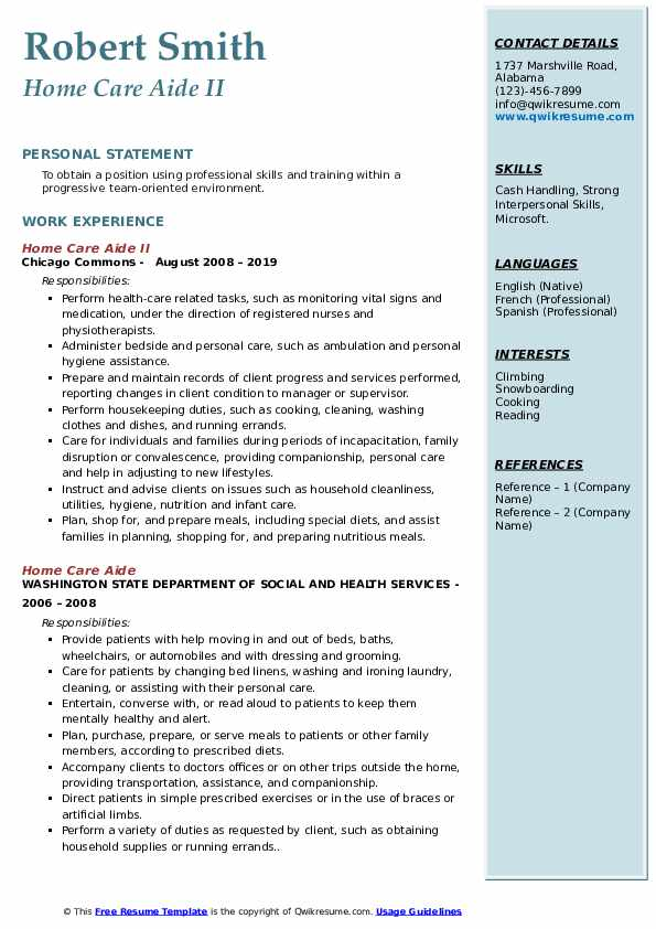 Home Care Aide II Resume Model