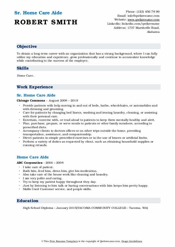Sr. Home Care Aide Resume Template