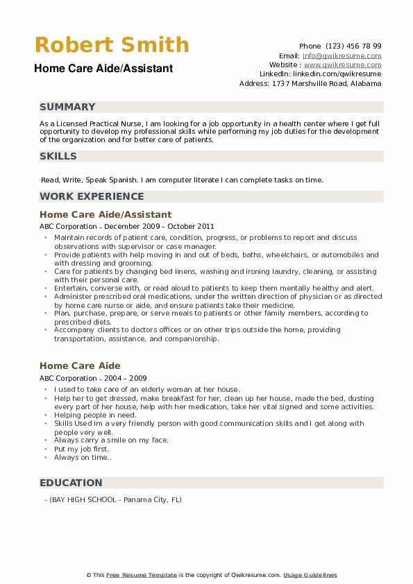 Home Care Aide/Assistant Resume Example