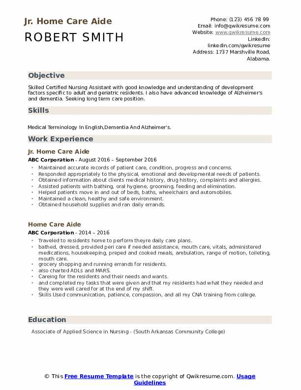 Jr. Home Care Aide Resume Format