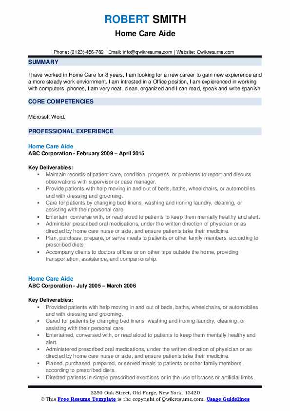 Home Care Aide Resume example