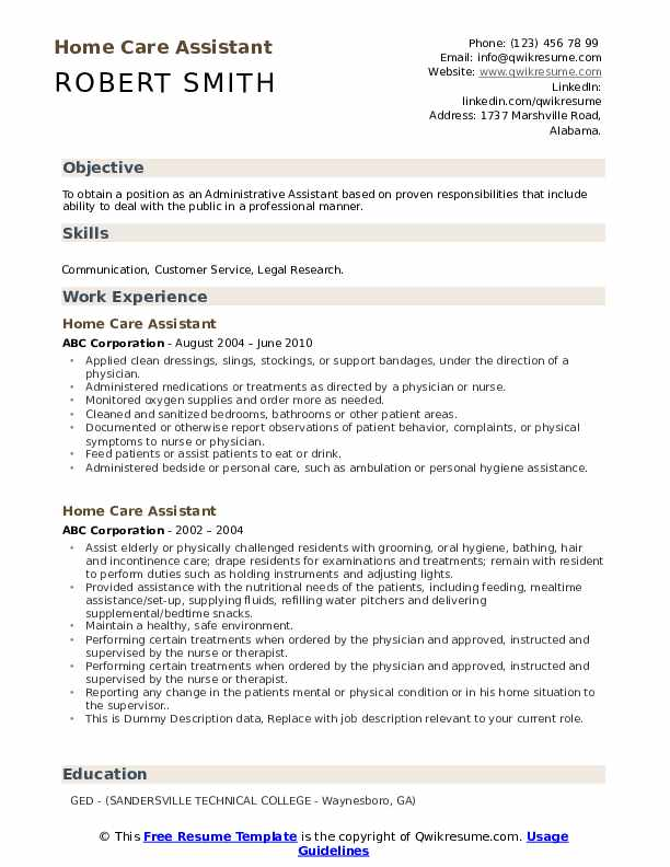 Home Care Assistant Resume example