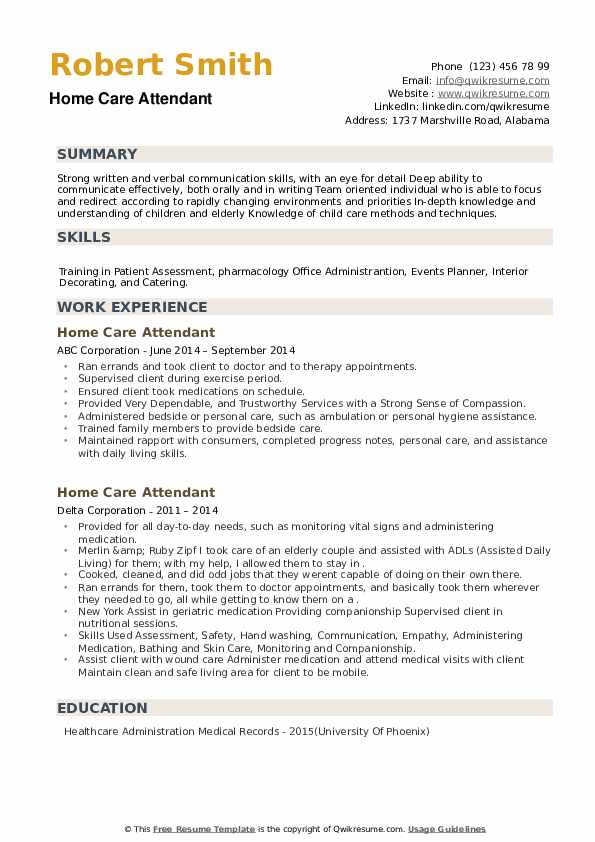 Home Care Attendant Resume example